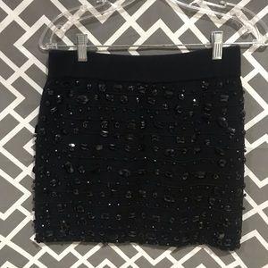 Wow couture black beaded mini skirt (M)
